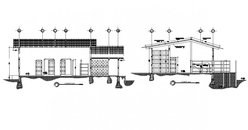 Front and back section details of municipal rural office dwg file