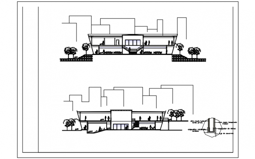 Front and back section drawing details of auditorium hall building dwg file