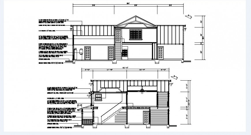 Front and back section drawing details of cottage house dwg file