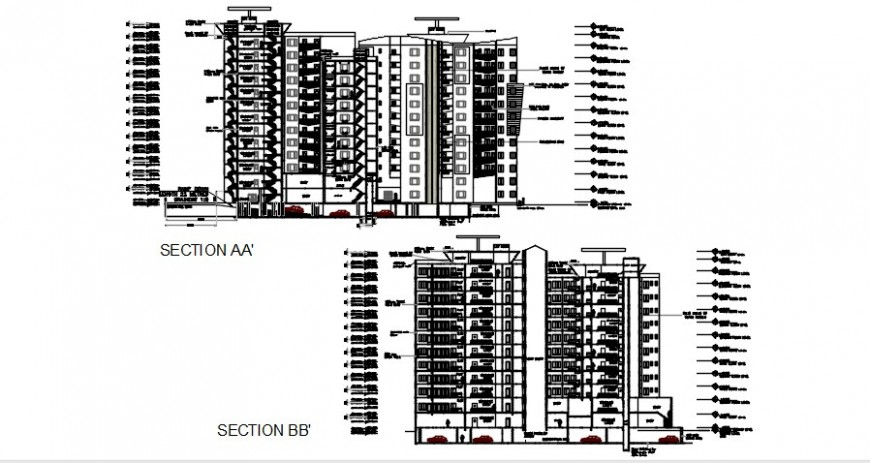 Front and back section drawing details of Multi-familiar apartment building dwg file