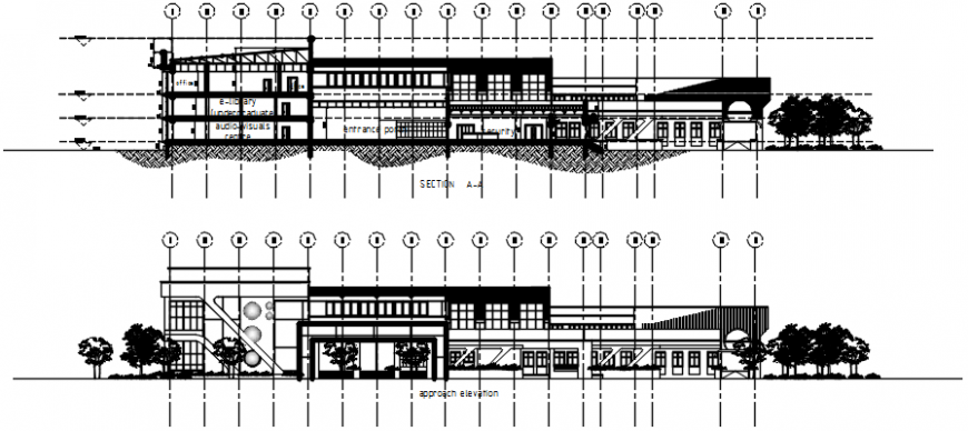 Front and back section drawing details of old library dwg file