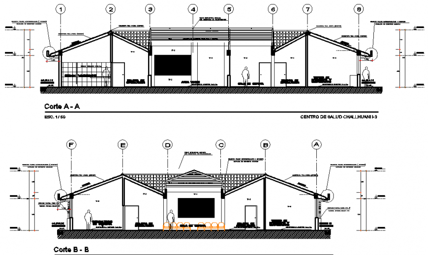 Front and back section drawing details of rural health center dwg file