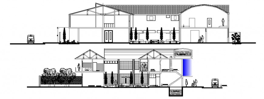 Front and back sectional drawing details of general hospital building dwg file
