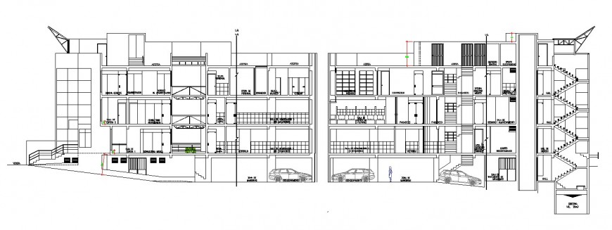 Front and back sectional drawing details of multi-story hospital building dwg file