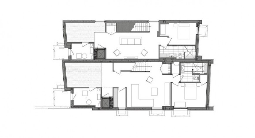 Front and back sectional drawing details of two story house jpg file