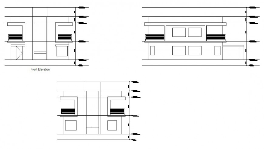 Front and both sided elevation drawing details of house dwg file