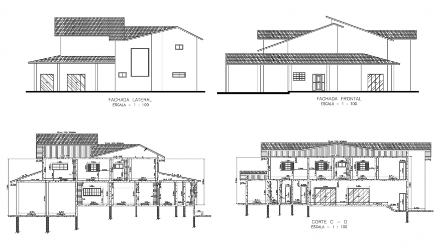 Front and lateral elevation and section details of house dwg file