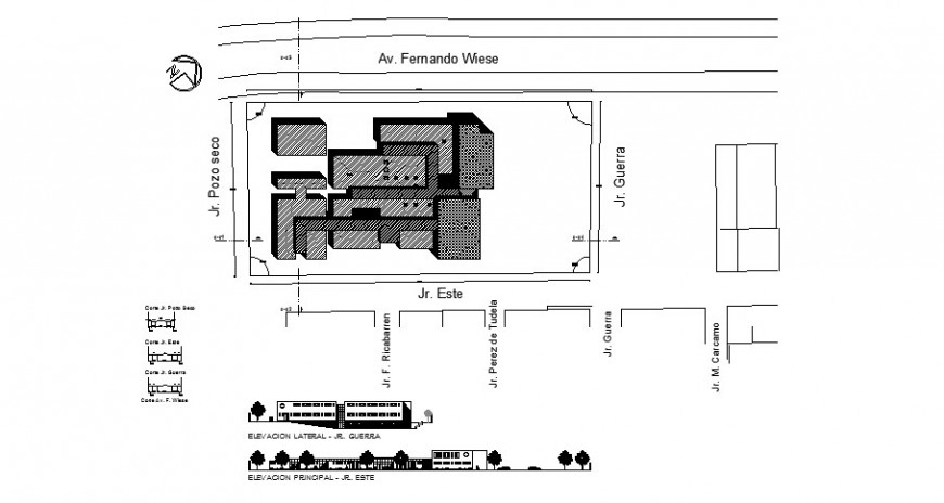 Front and lateral elevation and site plan and distribution plan of hospital dwg file