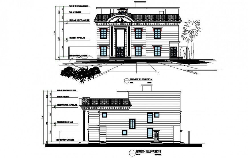 Front and north elevation details of two story villa dwg file