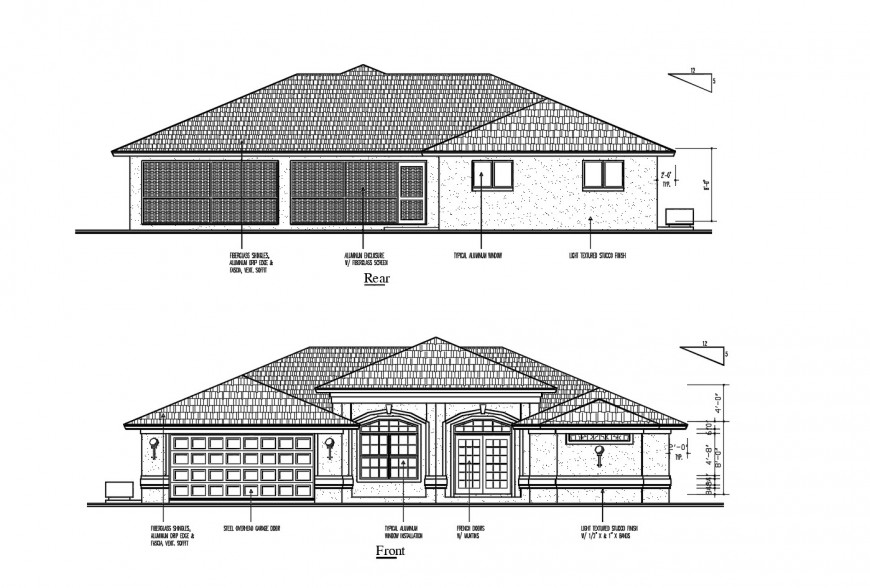 Front and rear elevation details of cottage house cad drawing details dwg file