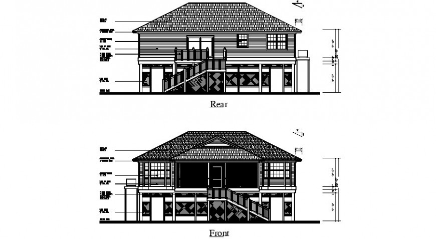 Front and rear elevation details of one family dwg file