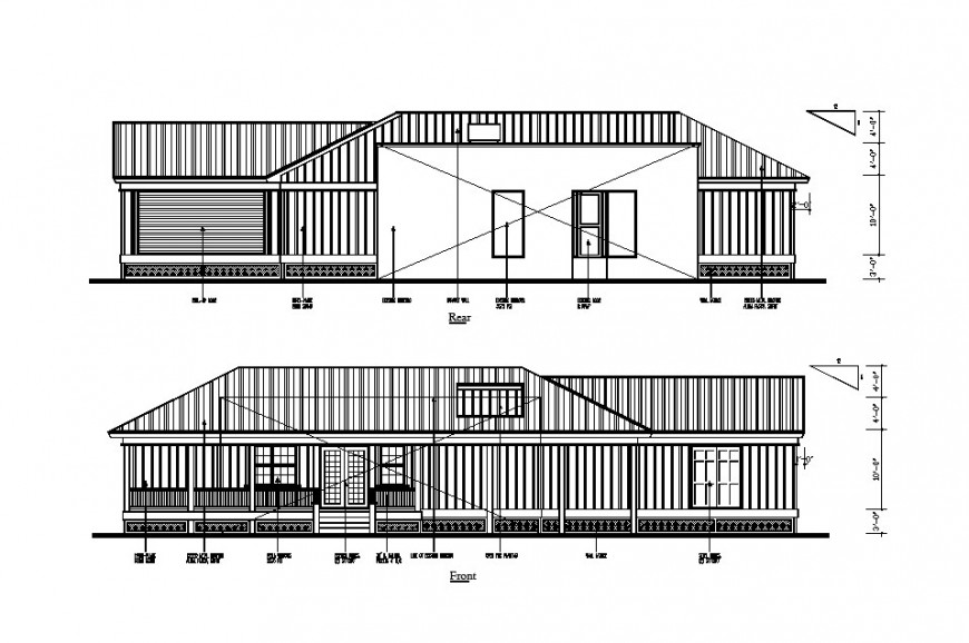 Front and rear elevation details of single story apartment house dwg file