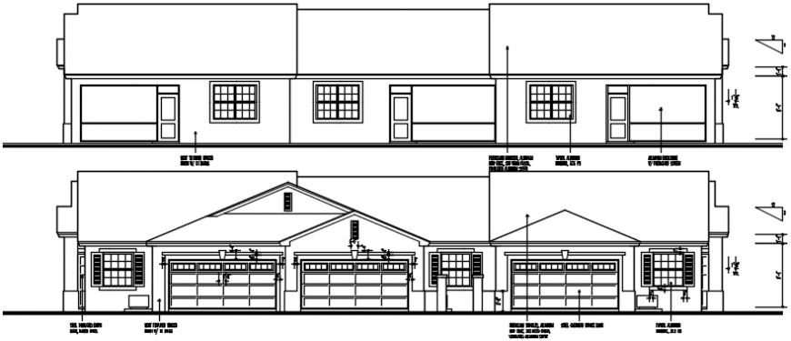 Front and rear elevation drawing details of long house dwg file