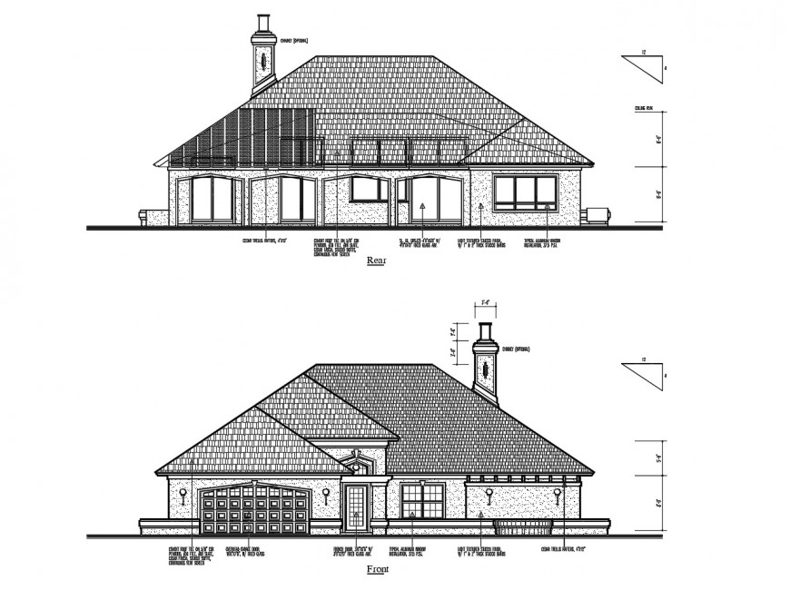 Front and rear side elevation details of cottage type house dwg file