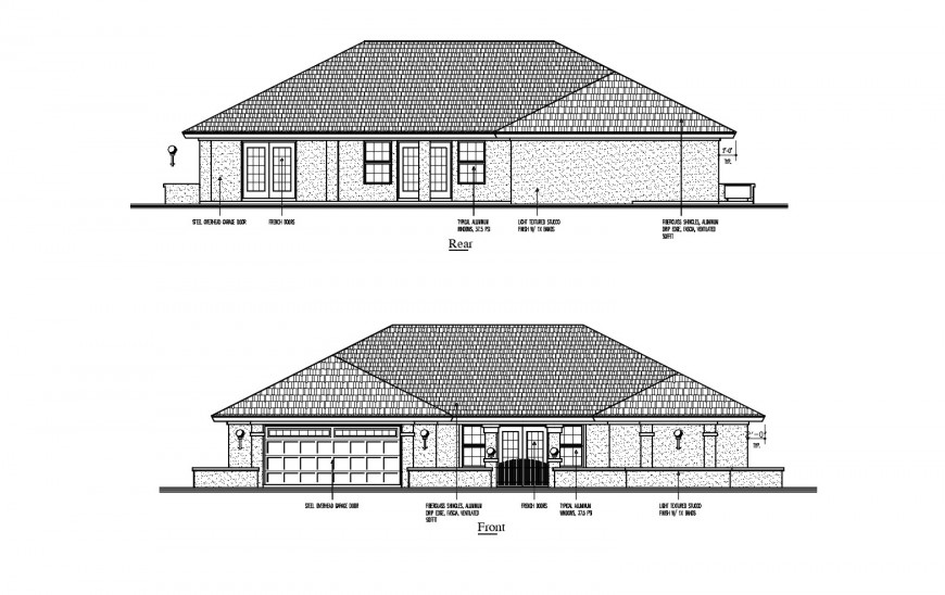 Front and rear side elevation details of single story house dwg file