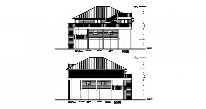 Front and rear side elevation drawing details of house dwg file