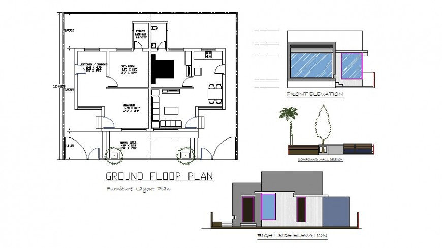 Front and right side elevation, ground wall and ground floor plan of house dwg file