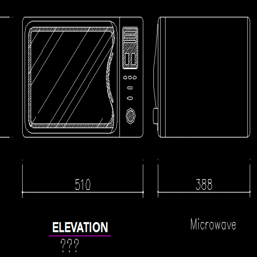 Front and side block design of microwave oven dwg file