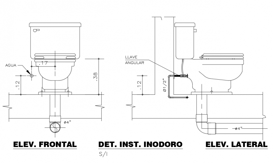 Front and side detail with water line of toilet design dwg file