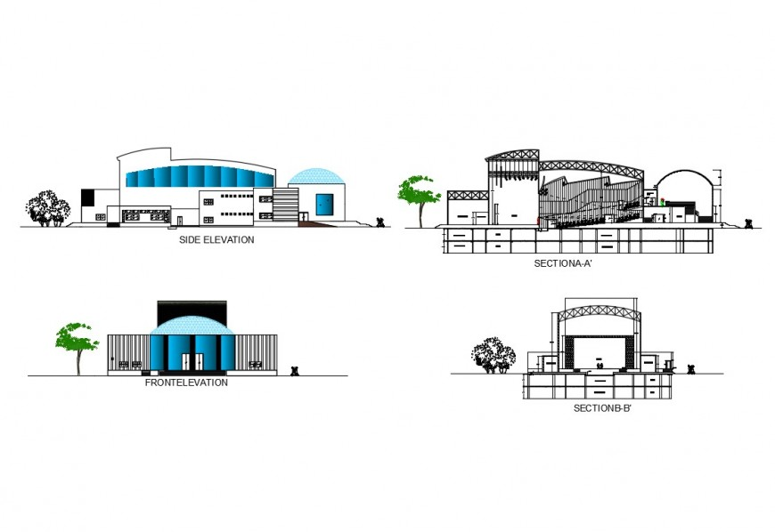 Front and side elevation and section details of civic center dwg file