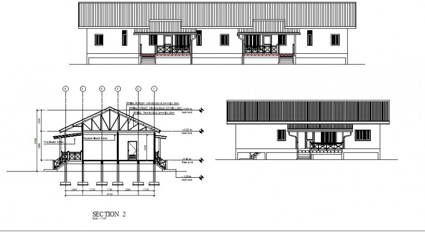 Front and side elevation and side sectional details of house dwg file