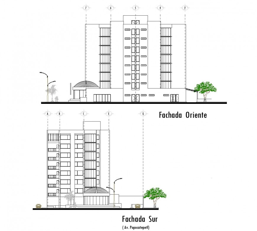 Front and side elevation high riser building dwg file