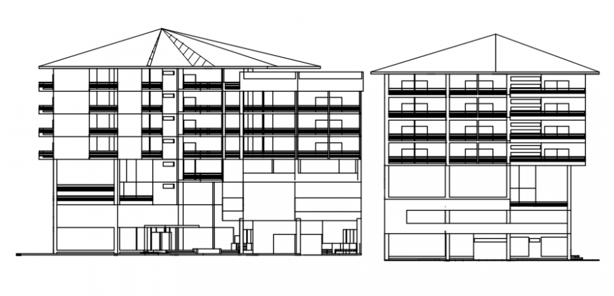 Front and side elevation of hotel auto cad file