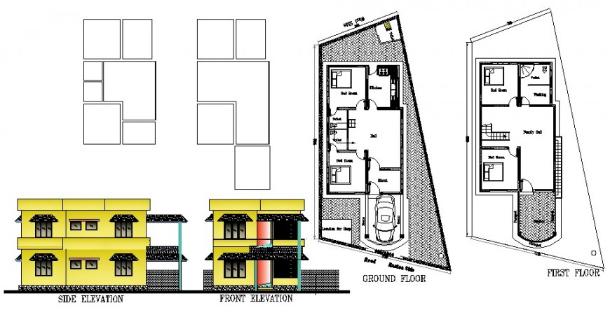 Front and side elevation with ground and first floor of residential house dwg file