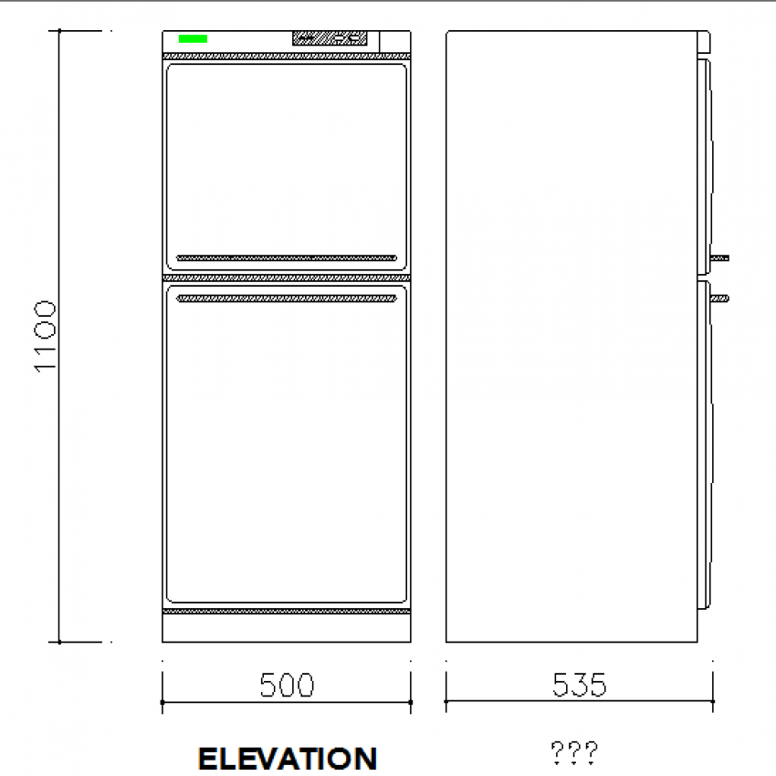 Front and side view design of refrigerator cad block design dwg file