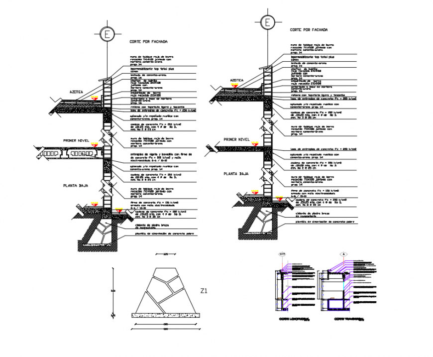 Front constructive section details of house building dwg file