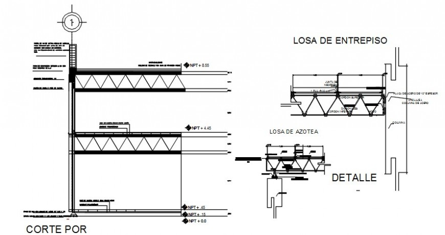 Front constructive section details of museum building dwg file