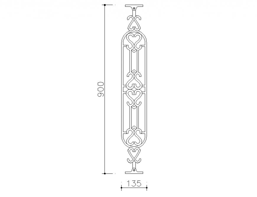 Front design elevation block details of railing design dwg file