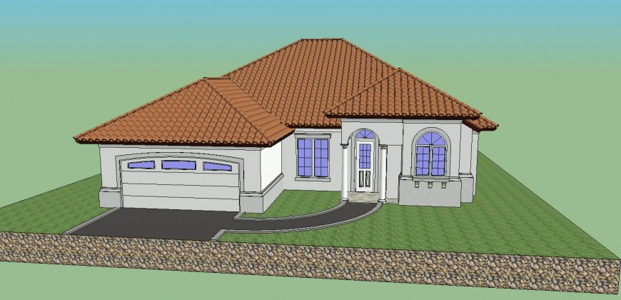 Front detail of a house, big concept design