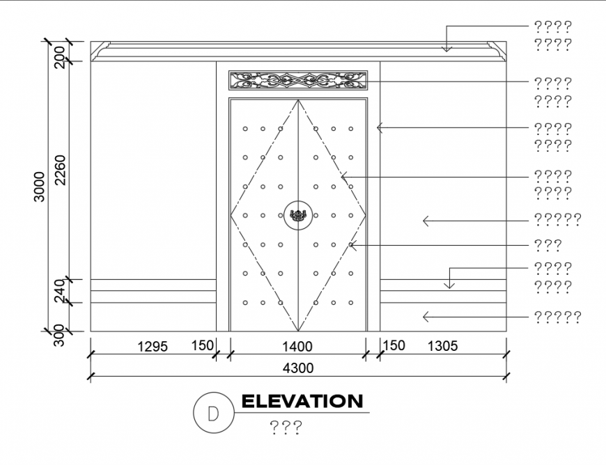 Front door and wall cad elevation cad block details dwg file