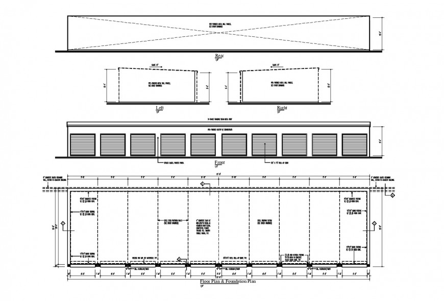 Front elevation, floor foundation and auto-cad drawing details of building dwg file