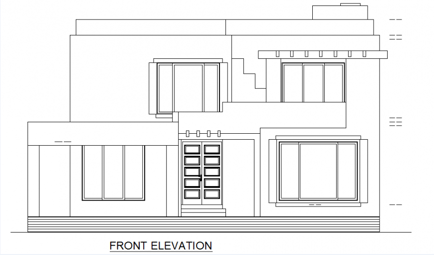 Front elevation 2 BHK house autocad file