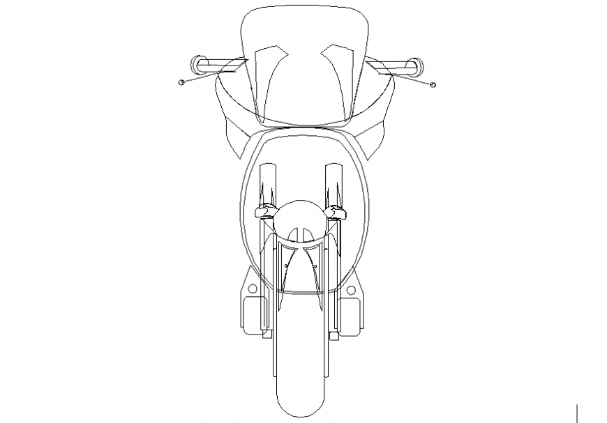 Front elevation 2 d motorcycle detail dwg file