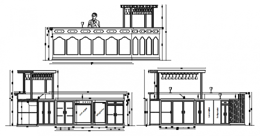 Front elevation and A and B elevation of bar in auto cad software