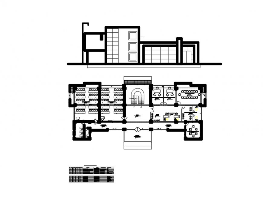 Front elevation and second floor layout plan details of electrical mechanical college dwg file