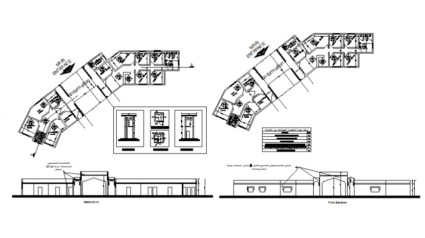 Front elevation and section details of office tower with floor plan details dwg file