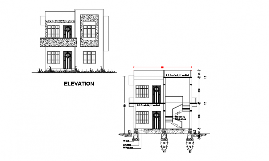 Front elevation and section details of two level residential house dwg file