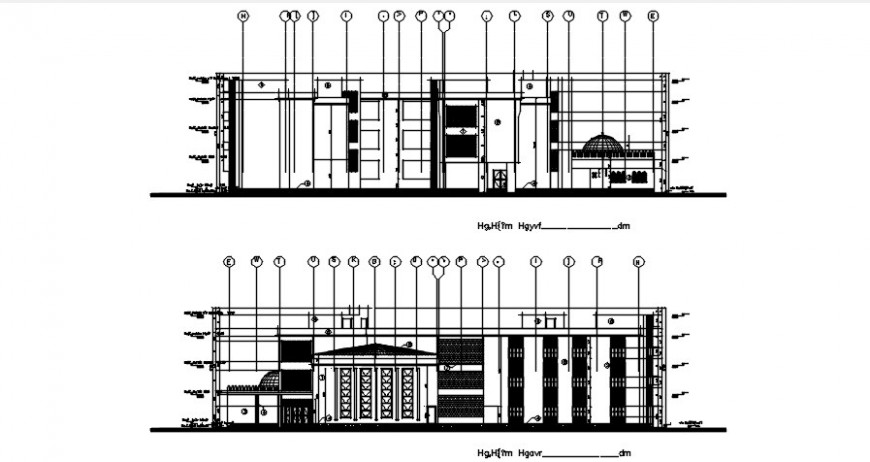 Front elevation and section drawing details of multi-level school dwg file