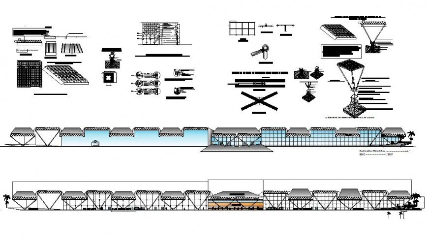 Front elevation and sectional details of airport building with structure dwg file