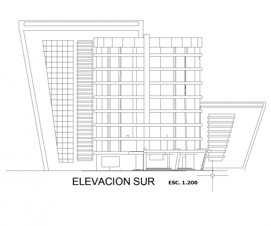 Front elevation commercial building plan dwg file