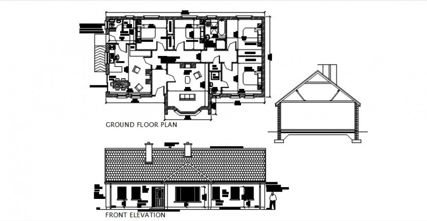 Front elevation concept of a house with plan