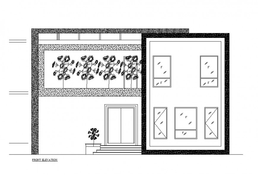 Front elevation details of small residential house dwg file