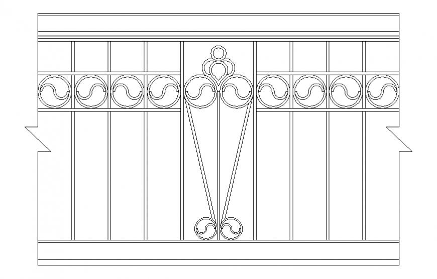 Front elevation details of wooden railing cad block details dwg file