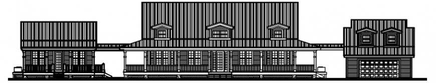 Front elevation drawing details of office building dwg file