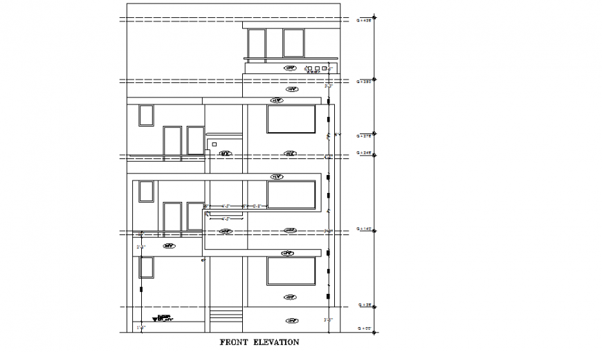 Front elevation house plan layout file