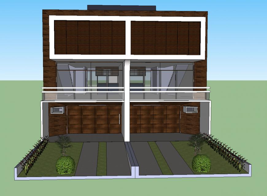 Front elevation of 3d triplex modern house model cad drawing details skp file